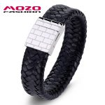 MOZO <b>FASHION</b> <b>Jewelry</b> Men Retro Bracelet Weave Leather Large buckle Bracelets & Bangles man Black exaggeration bangle PS2029