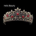 Huge Champagne Rhinestone Bridal Red Tiaras Beads Retro Diadem Gray Crystal Queen Crowns Baroque Vintage <b>Wedding</b> Hair <b>Jewelry</b>