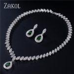 ZAKOL Brand Trendy Water Drop Cubic Zirconia Earrings Necklace Set for Women Luxury Crystal Bridal Wedding <b>Jewelry</b> Sets FSSP057