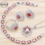 Bridal <b>Silver</b> 925 Jewelry Sets Earrings For Women Wedding Jewelry With Red Cubic Ziconia Necklaces & Pendants Ring <b>Bracelet</b> Set