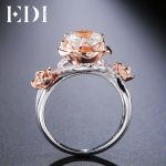 EDI Unique 100% 925 Sterling <b>Silver</b> Round Natural Topaz Ring Crystal Gemstone Rose Flower Female Fine <b>Jewelry</b>