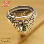Royal 100% 925 Sterling Silver Ring Blank <b>Jewelry</b> Fit Oval 17*22mm Cloisonne Vintage Ring Base Tray for DIY <b>Handmade</b>