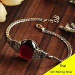 Fashion 925 Sterling <b>Silver</b> VintageRed Garnet & Green Agate & White Opal Chain <b>Bracelet</b> Women Thai <b>Silver</b> Gift Jewelry CH025333