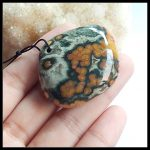 Sale 1Pcs Natural Stone Ocean Jasper Front Drilled Necklace Pendant Bead 41x33x13mm 26.6g <b>Fashion</b> <b>Jewelry</b> Pendant Accessories