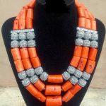 <b>Handmade</b> 3 Layers Real Coral Beads Chunky Women <b>Jewelry</b> Sets Silver Accessory African Bridal Costume <b>Jewelry</b> Set PJW204