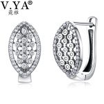 V.YA Vintage Cubic Zirconia Hoop Earrings 925 Sterling Silver Earrings Fine <b>Jewelry</b> For Women Female Mother Day Gift