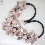 Women Jewelry natural pearl crystal light pink purple 5 flowers pendant shell mother of pearl <b>necklace</b> black leather 18″