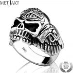 MetJakt Classic Motor Ring Solid 925 <b>Sterling</b> <b>Silver</b> Skull Ring & Hand Carved Skeleton and Pistol Men's Steampunk <b>Jewelry</b>