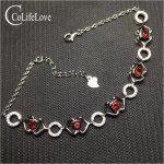 Dazzling garnet bracelet for woman 24 pcs 4 mm garnet <b>silver</b> bracelet solid 925 <b>silver</b> garnet <b>jewelry</b> birthday for woman