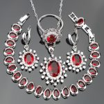 Women Red Zircon Silver 925 Costume Bridal <b>Jewelry</b> Sets Earrings/<b>Necklace</b>/Rings Set With White Stones Jewelery Christmas Box