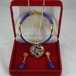 Prett Lovely Women's Wedding 7.5′ blue gem bracelet, earings, and dragon inlay blue gem pendant <b>jewelry</b> sets for Christmas and