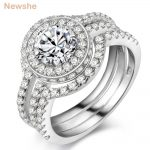 Newshe Solid 925 Sterling Silver 3 Pcs <b>Wedding</b> Ring Set Engagement Band 2 Ct AAA CZ Classic <b>Jewelry</b> For Women