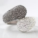 <b>Fashion</b> 316L Stainless steel <b>jewelry</b> Ring Double Round Crystal Head Rings for Wedding