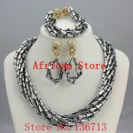 Fashion African Beads <b>Jewelry</b> Sets Nigerian Wedding <b>Handmade</b> Acrylic Beads Indian Multilayer Statement Necklace Earrings L052
