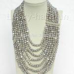 17″-24″ 8row baroque Gray pearls <b>necklace</b> 925 <b>silver</b> clasp