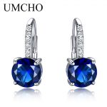UMCHO Round 4.5ct Created Blue Sapphire Clip <b>Earrings</b> For Women Solid 925 Sterling <b>Silver</b> 2018 New Fine Jewelry For Women Gift