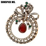 SUNSPICE MS. Neo-Gothic Round Hollow Flower Brooch For Women Ethnic Corsage <b>Antique</b> Gold Color Trendy Bohemia Festival <b>Jewelry</b>