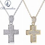 Slovecabin Real 100% 925 Sterling <b>Silver</b> Cross Pendant & <b>Necklace</b> For Women Thick Cross Pendant <b>Necklace</b> With AAA Zircon Fine