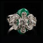 Jenia Brand Design Unisex <b>Antique</b> Silver Color Square Black/Green/Orange Stone Knot Ring Vintage Rhinestone <b>Jewelry</b> XR329