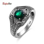 Szjinao 1.43ct Vintage Engagement Ring Emeald 100% 925 Sterling <b>Silver</b> <b>Jewelry</b> For Women Men Wedding Favors And Gift