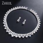 ZAKOL Luxury <b>Necklace</b> Set Square Water Drop Zirconia Earrings Bridal Wedding <b>Jewelry</b> Set For Evening Party Dress FSSP071