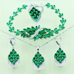 Reginababy <b>Silver</b> color Green created Emerald Wedding Jewelry Set For Women Crystal Bridal <b>Bracelet</b>/Necklace/Earrings/Ring