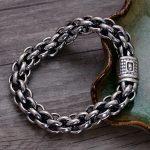 925 Sterling <b>Silver</b> Vintage Thai Wide Heavy Retro Men <b>Bracelets</b> Jewelry Bubble Circle Lock CH058602