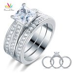 Peacock Star 1.5 Ct Princess Cut Solid 925 Sterling Silver 3-Pcs Engagement Bridal Ring Set <b>Jewelry</b> CFR8197