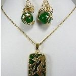 Women's Wedding <b>Jewelry</b> Fashion New Green gem Dragon Pendant necklace earring set For Women 5.23 silver- real silver mujer
