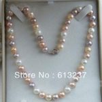 Charming multicolor akoya freshwater 7-8mm natural pearl beads diy necklace <b>making</b> 18 inch AAA MY4295