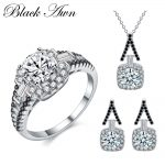 [BLACK AWN] 925 Sterling <b>Silver</b> Fine Jewelry Sets Trendy Engagement Sets Ring+<b>Earring</b>+Necklace for Women PTR150