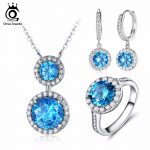 ORSA JEWELS Fashion <b>Silver</b> Color Eternity Necklace Ring Earing Engagement <b>Jewelry</b> Sets with Osean Bule AAA Cubic Zirconia OS108