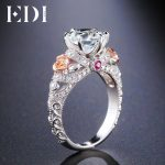 EDI 2ct Natural Topaz Gemstone Crystal 925 <b>Sterling</b> <b>Silver</b> Engagement Ring For Women Flower Bands Fine <b>Jewelry</b>