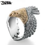 ZABRA Real Solid 925 <b>Sterling</b> <b>Silver</b> Eagle Gold Color Head Ring For Women Men Vintage Steampunk Retro Cool Ring Gift Men <b>Jewelry</b>