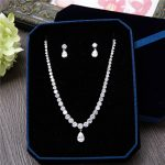 Fashion Silver-Tone AAA Cubic Zirconia Round Shape <b>Necklace</b> Stud Earrings Pear Pendant Women <b>Jewelry</b> Sets for Wedding Party Prom