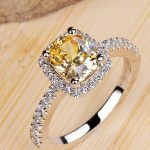Luxury 2 Carat Yellow CZ Diamant Weddings Rings for Women Real 925 <b>Sterling</b> <b>Silver</b> Sona Simulated Diamant <b>Jewelry</b> Ring ZR129