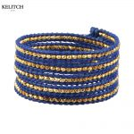 KELITCH <b>Jewelry</b> Custom Made Gold Nuggets with Blue Genuine Leather Chain Wrap <b>Handmade</b> Fashion Bracelet For Lady