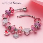 ATHENAIE Heart Charm Bracelet with Mother and Daughter Pendant & Flower Murano Glass Beads <b>Silver</b> 925 For Women DIY <b>Jewelry</b>
