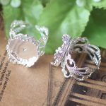 100pcs/Lot Cabochon 15mm Crown ring blank with Cameo Tray,Silver Plated Ring setting,<b>Handmade</b> DIY Zakka <b>jewelry</b> Finding