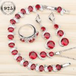 Christmas Red Zircon <b>Silver</b> 925 Jewelry Sets <b>Bracelets</b> Earrings Pendant Necklace Rings With Stones Set For Women Gift Box