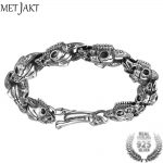 MetJakt Men's Punk Skull Sheep Head <b>Bracelet</b> Solid 925 Sterling <b>Silver</b> <b>Bracelet</b> for Male Biker Vintage Thai <b>Silver</b> Jewelry 21cm