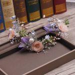 Powder blue mori silk yarn simulation flower wreath garland <b>handmade</b> bride wedding hair head <b>jewelry</b> accessories