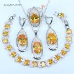 L&B 8 Colors Options Orange Yellow Rhinestone White CZ <b>Bracelets</b> 925 Sterling <b>Silver</b> Jewelry Sets For Women Fashion Jewelry