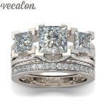 Vecalon <b>Jewelry</b> Engagement ring Princess cut Three-stone AAAAA Zircon Cz 925 Sterling Silver <b>wedding</b> Band ring for women
