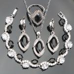 Black Zircon Silver 925 <b>Jewelry</b> Sets Wedding Women White Stones Bracelets Earrings <b>Necklace</b> Rings Set of Jewelery Gift Box