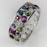 Pink Kunzite Garnet Peridot Blue Crystal Zircon Crystal Zircon Lady's 925 <b>Silver</b> <b>Bracelet</b> B483
