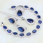 Water Drop Blue CZ White Australian Crystal 925 Sterling Silver <b>Jewelry</b> Sets For Women Earring/Pendant/<b>Necklace</b>/Bracelet/Ring