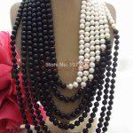 Hand-Made Semi-Stone Charming! 7 strands Pearl&Onyx <b>Necklace</b> free shipment