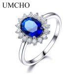 UMCHO Luxury Blue Sapphire 6*8mm Princess Diana Rings Genuine 925 Sterling <b>Silver</b> Engagement Rings For Women Wedding <b>Jewelry</b>