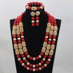 Luxury Dubai Costume Gold Women <b>Jewelry</b> Sets Red African <b>Jewelry</b> Sets Wedding Nigerian Coral Beads <b>Necklace</b> Set ABH167